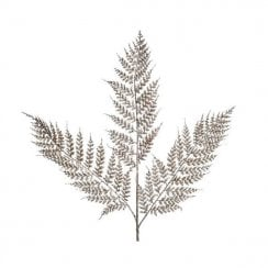 Danish Collection Plastic Sprayed Fern with Glitter - Champagne