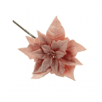 Danish Collection Poinsettia Stem Frosted  - L25cm