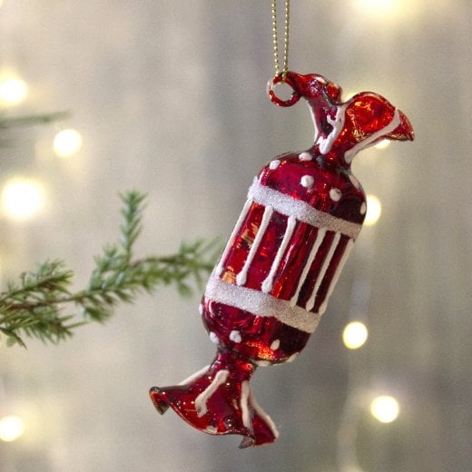 Danish Collection Red & White Glass Sweet Bauble