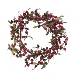 Danish Collection Round Wreath with Red Berries