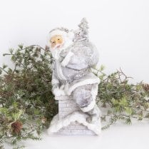 Danish Collection Santa Coming Up From The Chimney - H20cm