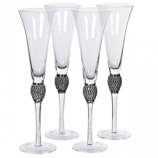 Danish Collection set of 4 Champagne Flutes with Black Crystals