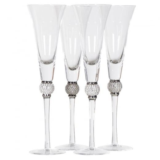 Danish Collection Set of 4 Champagne Flutes with Crystal Ball