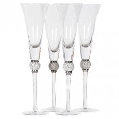 Danish Collection set of 4 Champagne Flutes with Silver Crystals