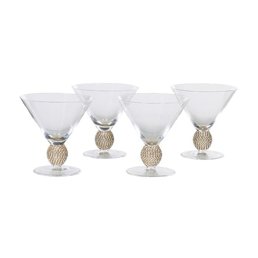 Danish Collection Set of 4 Gold Diamante Cocktail Glasses