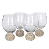 Danish Collection Set of 4 Gold Diamante Dinning Glasses