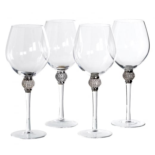 Danish Collection Set of 4 Red Wine Glasses with Crystal Ball