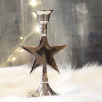 Danish Collection Short Star Candle Holder - Silver