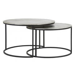 Danish Collection Side Tables Set/2 - Silver Raw Nickel Top
