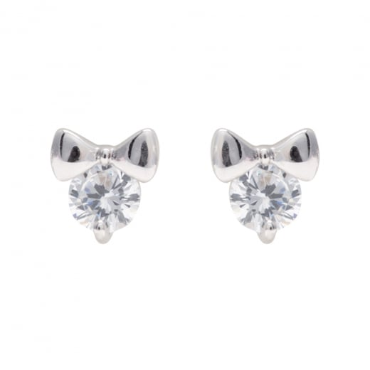 Danish Collection Silver Bow Stud Earrings