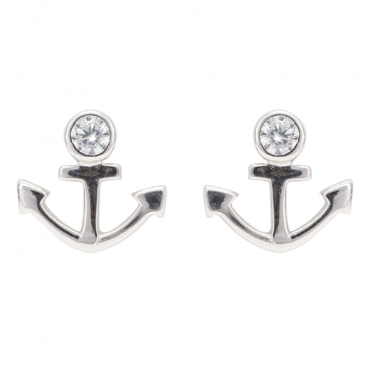 Danish Collection Silver/Crystal Anchor Stud Earrings