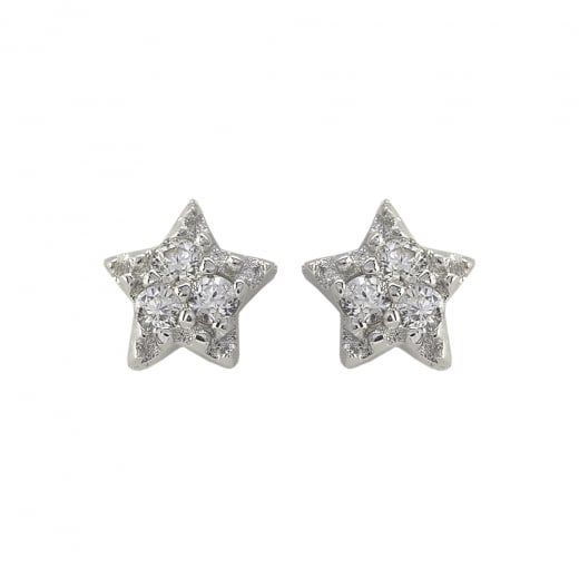 Danish Collection Silver/Crystal Five Point Star Stud Earriings