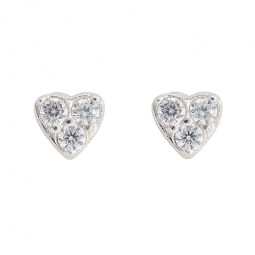 Danish Collection Silver/Crystal Heart Stud Earrings