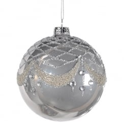 Danish Collection Silver Glitter Bauble
