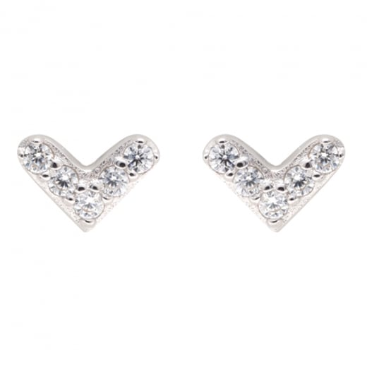 Danish Collection Silver Heart Stud Earrings