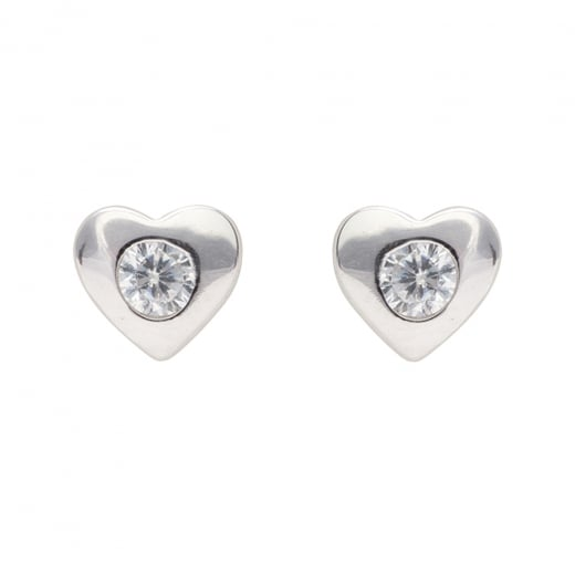 Danish Collection Silver Heart With Crystal Stud Earrings