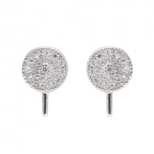Danish Collection Silver Round Stud Earrings