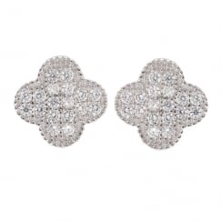 Danish Collection Silver Stud Petal Earrings