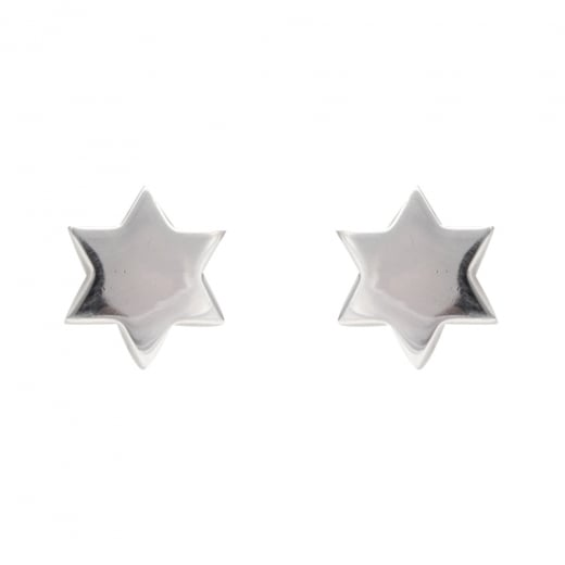 Danish Collection Six Point Star Silver Stud Earrings