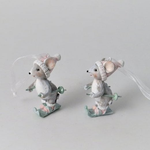 Danish Collection Skiing Mouse Decoration - Grey