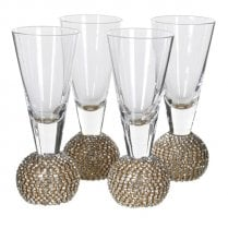 Danish Collection Sliver Diamante Shot Glasses - Set of 4
