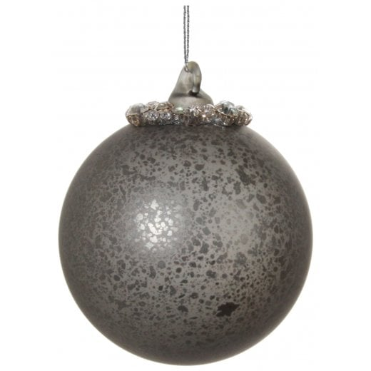 Danish Collection Small Antique Glass Bauble with Beaded Top - Grey