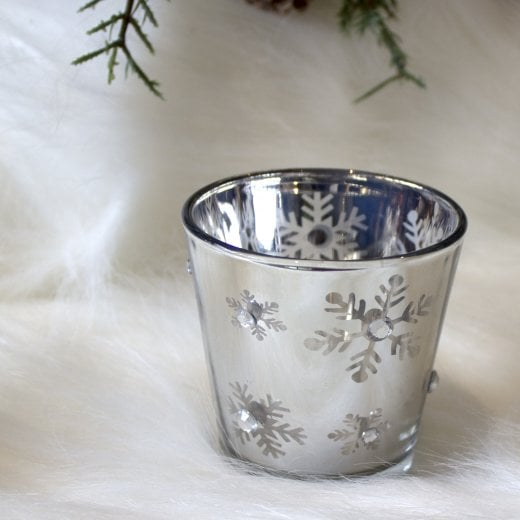 Danish Collection Small Christmas Snowflake Design Candle Holder - Silver