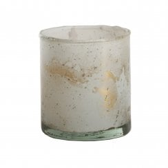 Danish Collection Small Cylinder Tealight Holder - White & Gold