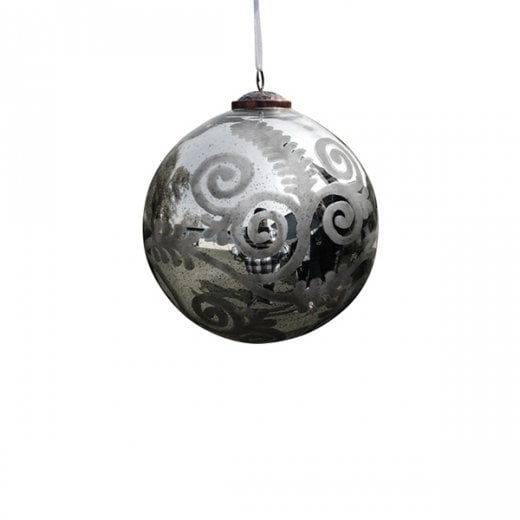 Danish Collection Small Florentine Glass Bauble - Antique Silver