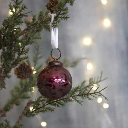 Danish Collection Small Florentine Glass Bauble - Silk Red