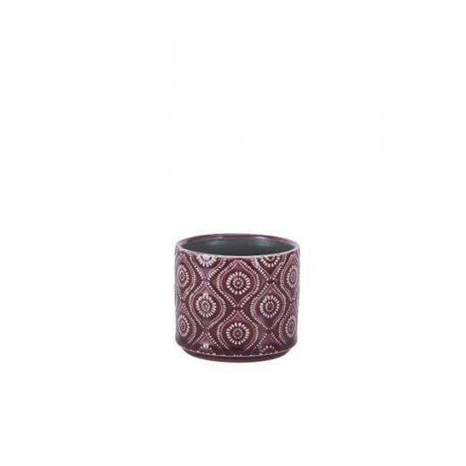 Danish Collection Small Flowerpot with Circle Pattern - Purple