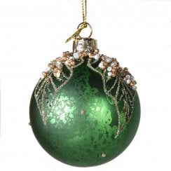 Danish Collection Small Glass Bauble with Bead Top - Green