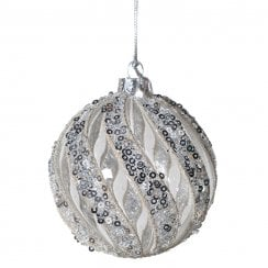 Danish Collection Small Glass Bauble with Sequin Twists - Silver