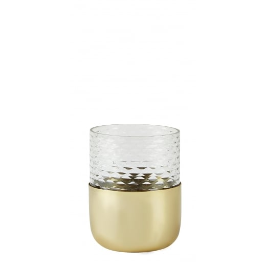 Danish Collection Small Gold and Glass Tealight Holder
