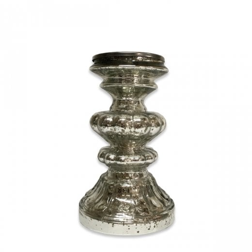 Danish Collection Small Ornate Candle Pillar - Antique Silver
