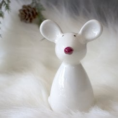 Danish Collection Small Standing Mouse Figurine - White