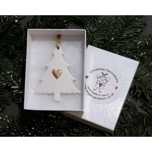 Danish Collection Small Tree with Heart - White/Gold