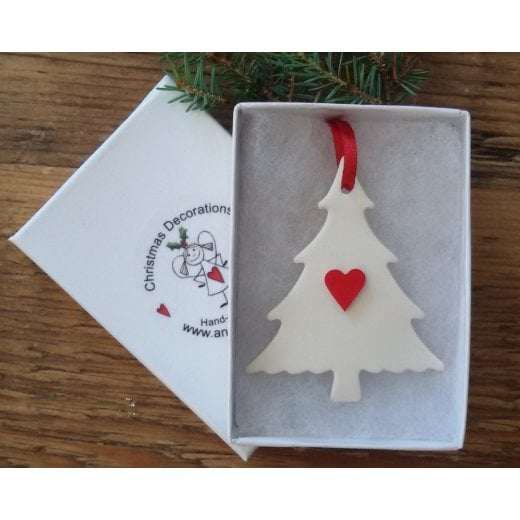 Danish Collection Small Tree with Heart - White/Red