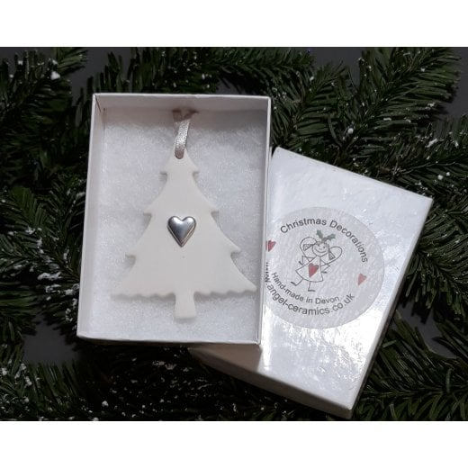 Danish Collection Small Tree with Heart - White/Silver