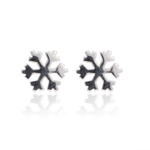 Danish Collection Snowflake Silver Stud Earrings