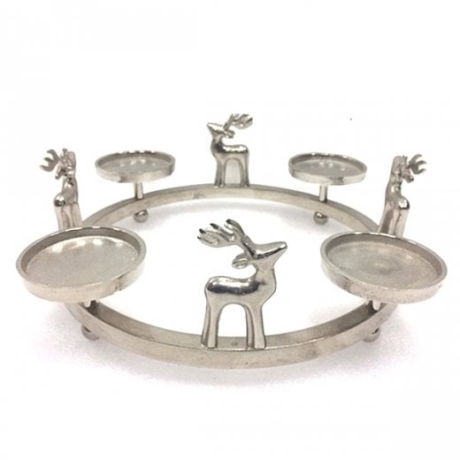 Danish Collection Stag Candle Wreath - Silver