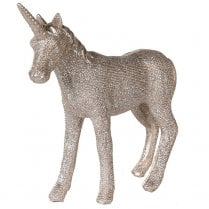 Danish Collection Standing Glittery Unicorn - Champagne