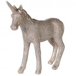 Danish Collection Standing Glittery Unicorn - Champagne