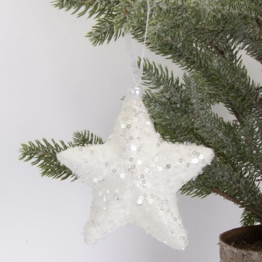 Danish Collection Star - White Glitter H12cm