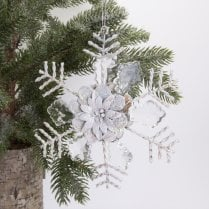 Danish Collection Starburst Decoration - White H15cm