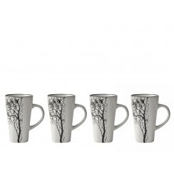 Danish Collection Stoneware Espresso Cup With Black Tree -Set/4