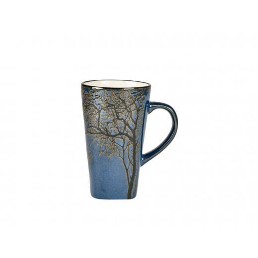 Danish Collection Stoneware Mug in Dark Blue with Black Tree