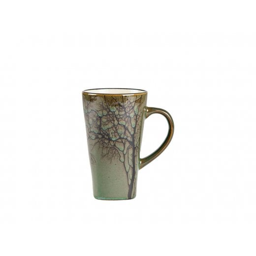 Danish Collection Stoneware Mug in Green with Black Tree