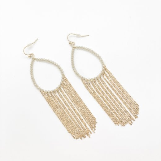 Danish Collection Tear Drop Earring With Beads And Tassels  - Gold plated L 10cmmm