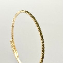 Danish Collection Thin bangle with stones - Emerald Green/Gold